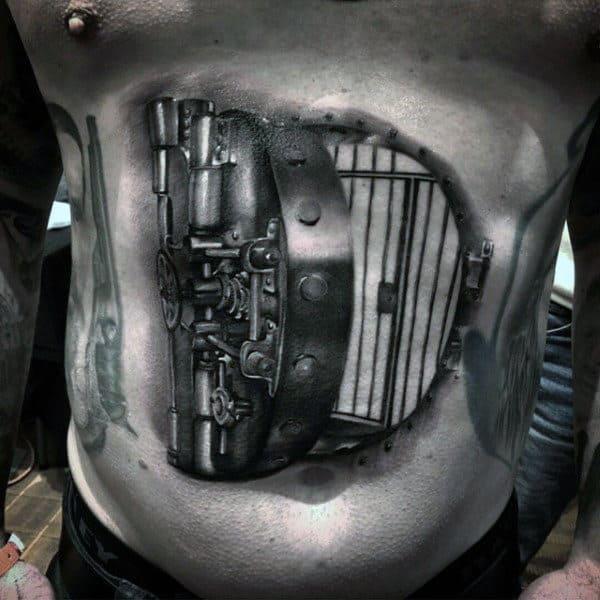 Amazing Realistic Black Ink Bank Valut Door Tattoo On Man