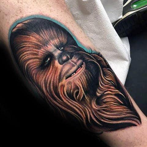 Amazing Realistic Chewbacca Mens Leg Tattoos