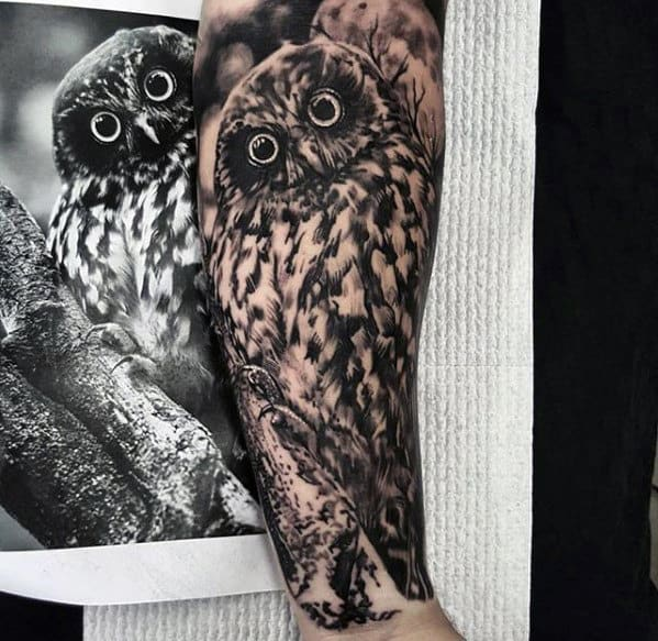 Amazing Realistic Owl Forearm Sleeve Tattoos For Men