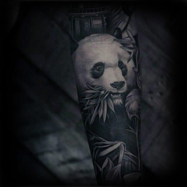 Amazing Realistic Panda Guys Sleeve Tattoo Design Ideas