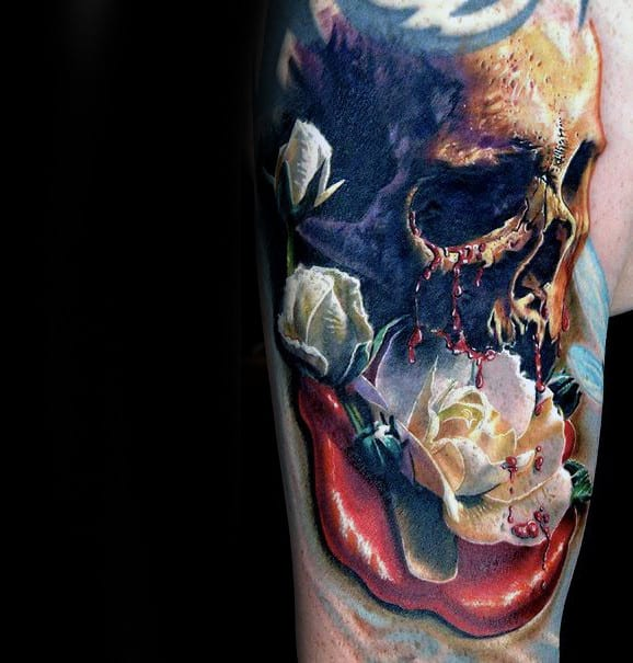 Amazing Realistic Rose And Skull Tattoo On Mans Arm
