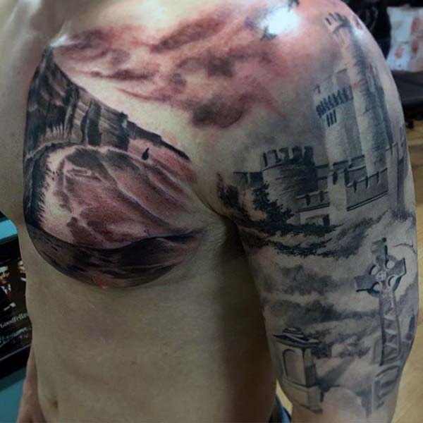 Amazing Realistic Watercolor Irish Castle Guys Half Sleeve And Chest Tattoo
