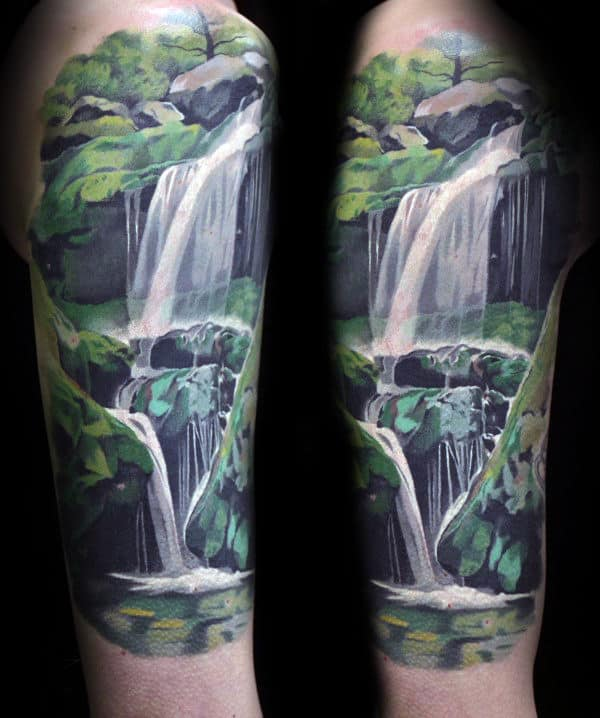 Amazing Realistic Waterfall Mens Upper Arm Tattoos