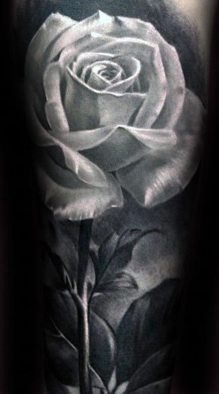 Amazing Realistic White Rose With Stem Mens Shaded Forearm Flower Sleeve Tattoo