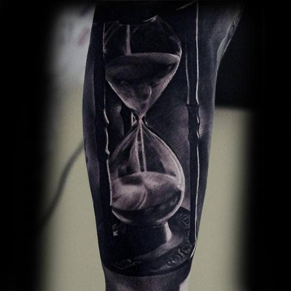 Amazing Realsitic Hourglass Mens Arm Sleeve Tattoo