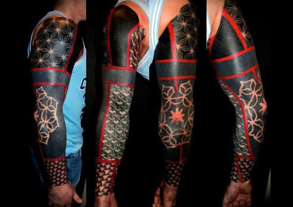 Amazing Red Ink And Black Full Tattoo Sleeve For Men
