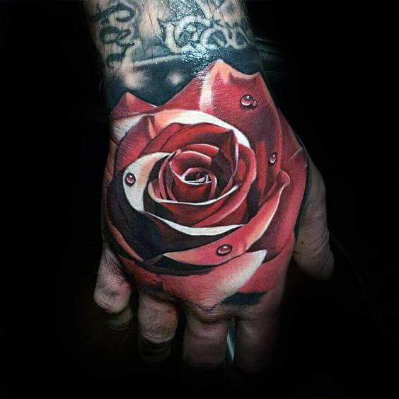 Amazing Red Realistic Rose Flower Hand Tattoo With Water Droplets