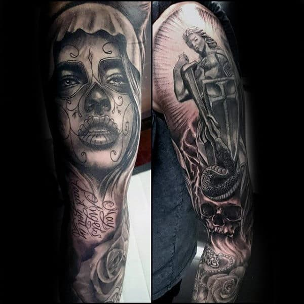 Amazing Religious Tattoo Male Sleeves