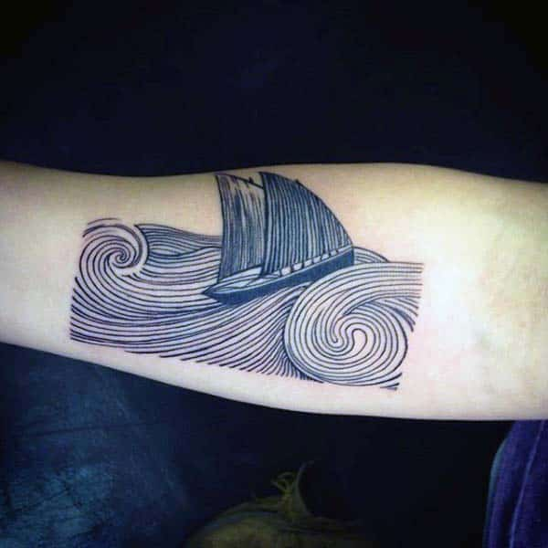 Amazing Sailboat Moving Through Ocean Waves Woodcut Inner Forearm Tattoos For Men