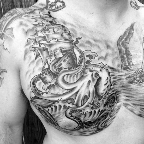 Amazing Sailing Ship With Kraken Out At Sea Mens Chest Tattoos