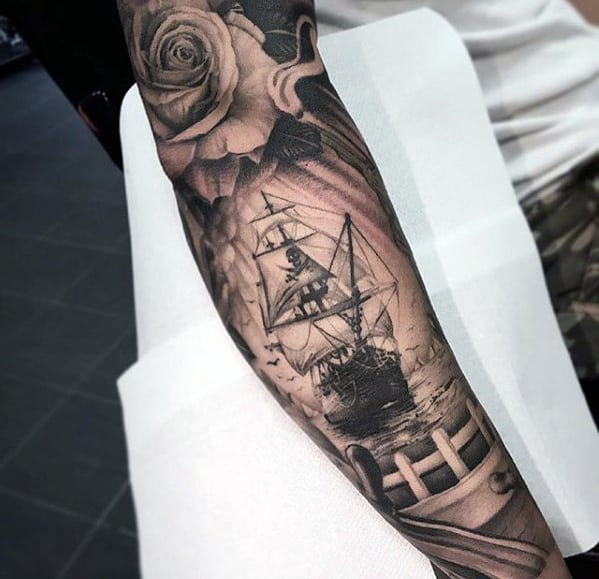 Amazing Sailing Ship With Pirate Flag Mens Full Arm Sleeve Tattoos