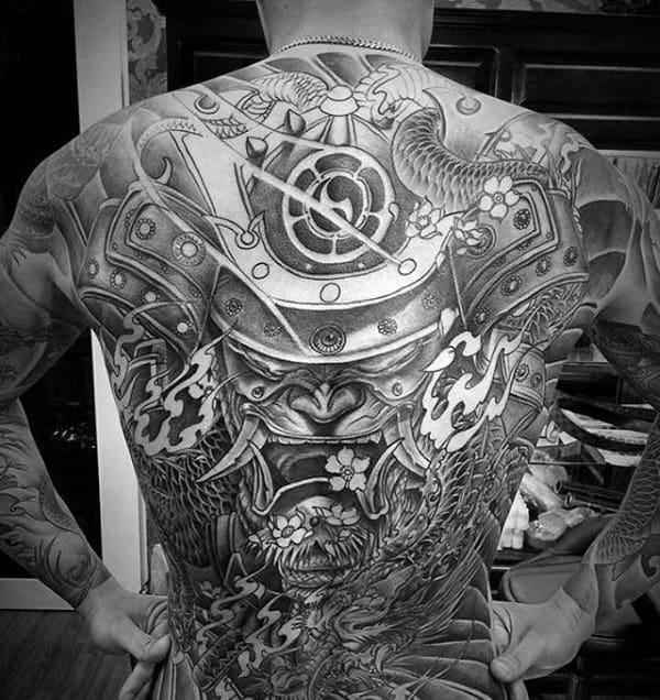 Amazing Samurai Helmet Full Back Tattoo On Gentleman