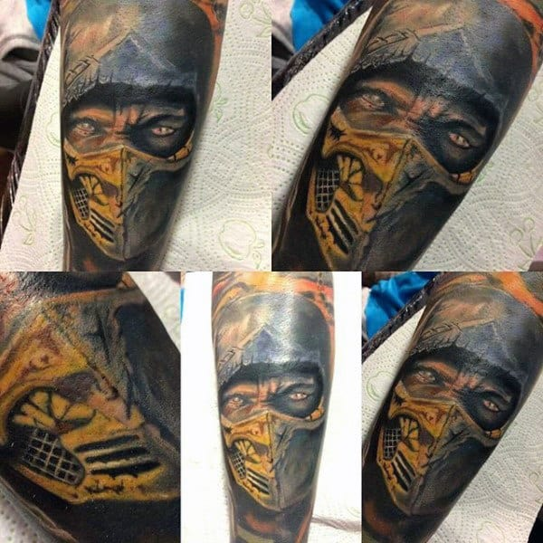 Amazing Scorpion Male Mortal Kombat Tattoo Design Inspiration