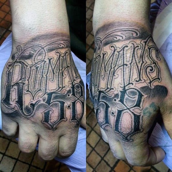 Amazing Scripture Tattoos For Men On Hands Romans