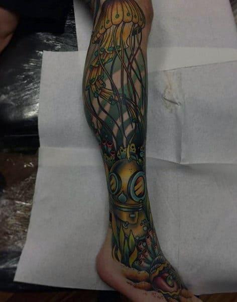 Amazing Sea Life And Jellyfish Tattoo Guys Lower Legs