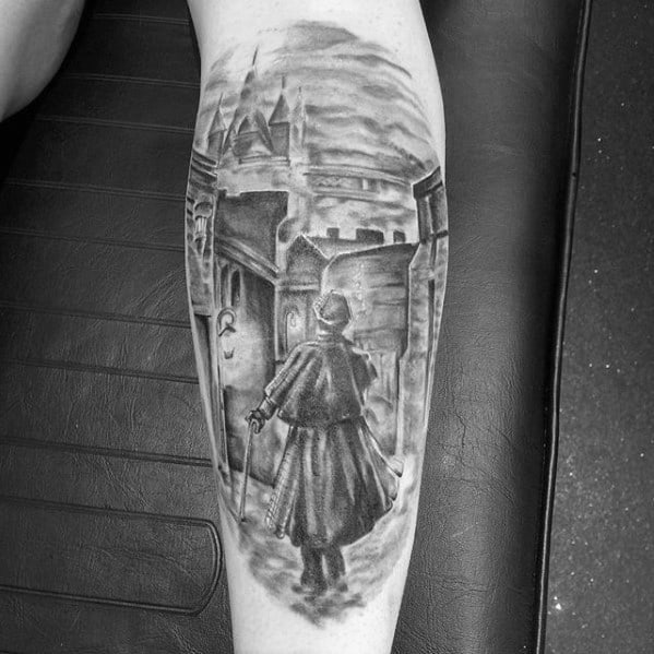 Amazing Shaded Black And Grey Back Of Leg Mens Sherlock Holmes Tattoo Designs