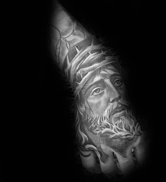 Amazing Shaded Jesus Portrait Religious Hand Tattoos For Males