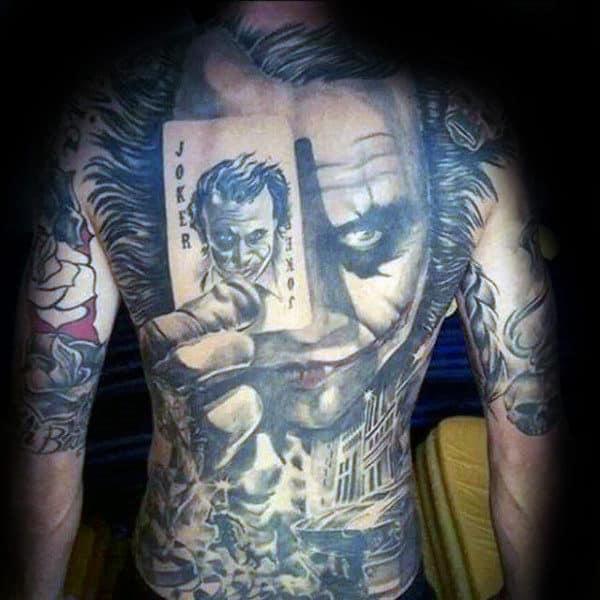 Amazing Shaded Joker Mens Full Back Tattoo Inspiration