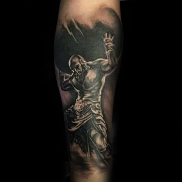 Amazing Shaded Masucline Guys Atlas Tattoo Forearm Sleeve