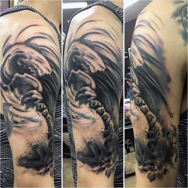 Amazing Shaded Mens Watercolor Tornado Tattoo On Arm