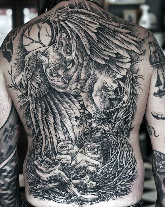 Amazing Shaded Owl Flying With Moon Mens Full Back Tattoos
