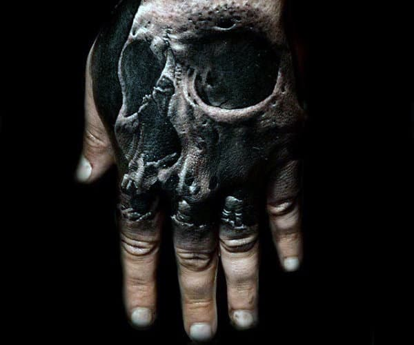 Amazing Skull Hand Tattoo With 3d Design For Males