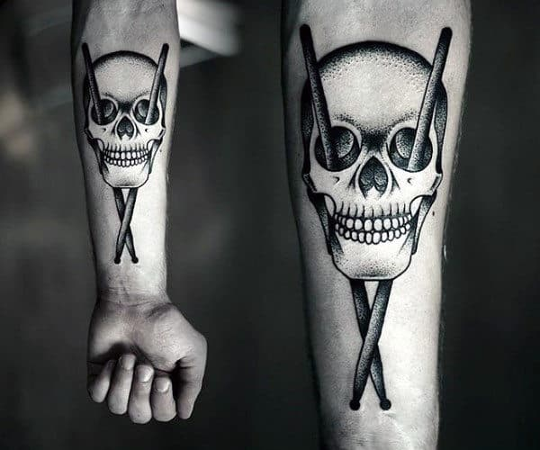 Amazing Skull With Drum Sticks Dotwork Male Tattoo On Inner Forearm