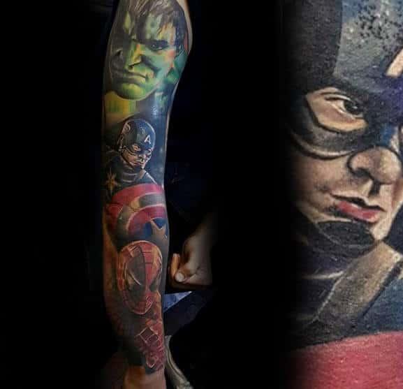 Amazing Sleeve Tattoo Of Marvel Superheros For Gentlemen