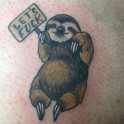 Amazing Sloth Cute Tattoo