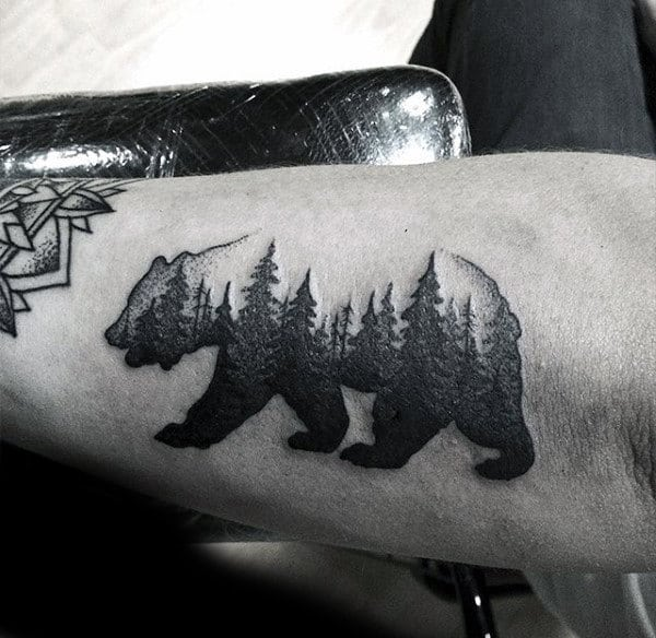 Amazing Small Black Ink Bear Animal Pine Tree Bicep Tattoos For Guys