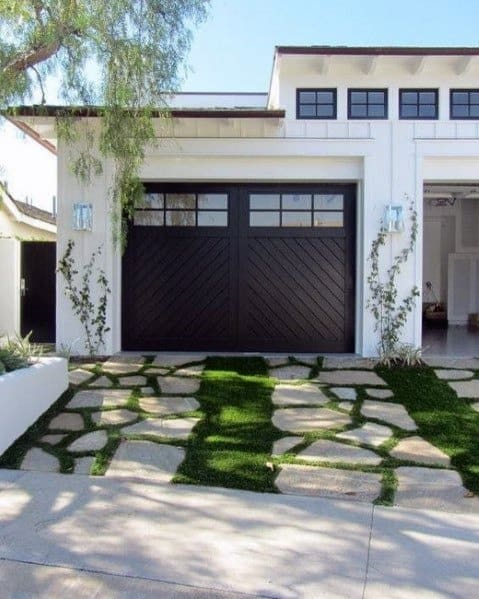 Amazing Small Driveway Ideas Natrual Stone With Grass