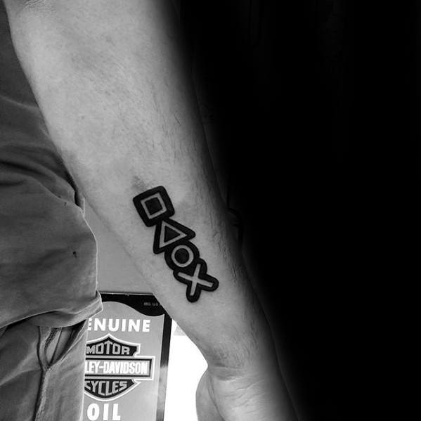 Amazing Small Negative Space Black Ink Outer Forearm Mens Playstation Tattoo Designs