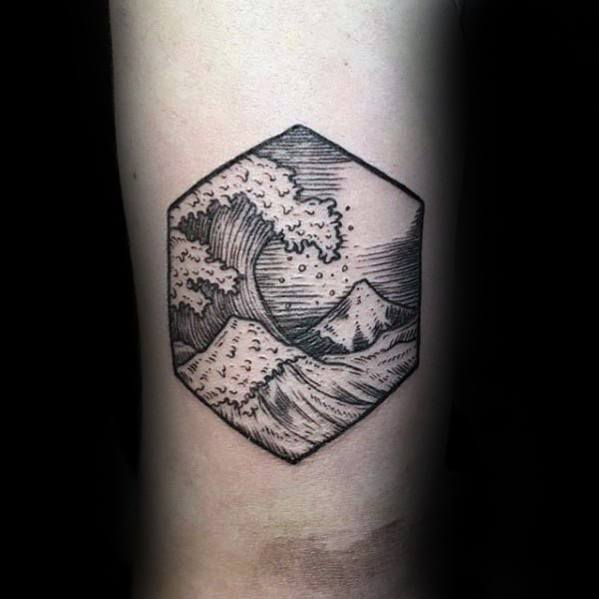 Amazing Small Ocean Back Of Arm Tattoos For Guys