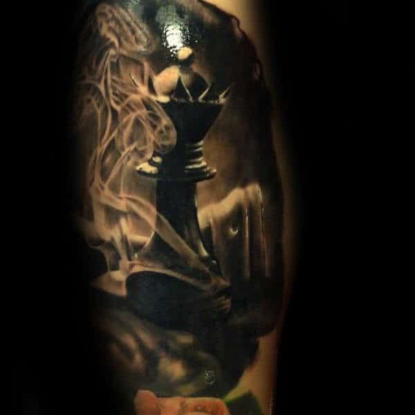 Amazing Smoking King Chess Piece Guys Dark Tattoo Ideas