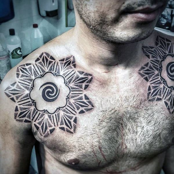 Amazing Spiral Mens Upper Chest Tattoo Designs Dotwork Geometric