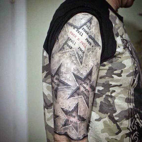 Amazing Stone Half Sleeve Mens 3d Star Tattoo Designs
