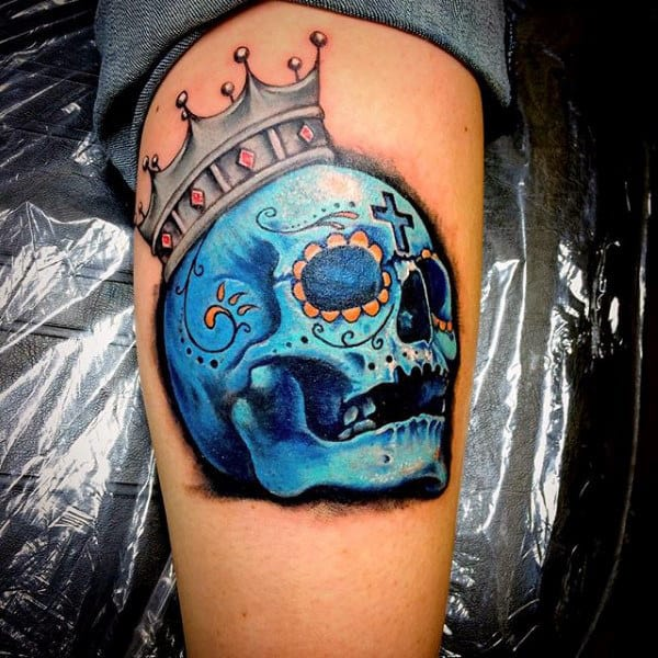 Amazing Sugar Skull Tattoo For Guys With Blue Ink 3d Design Ideas