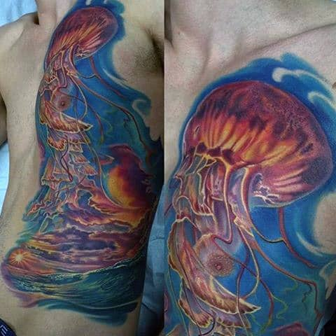 Amazing Sunlit Waters And Jellyfish Tattoo Male Torso