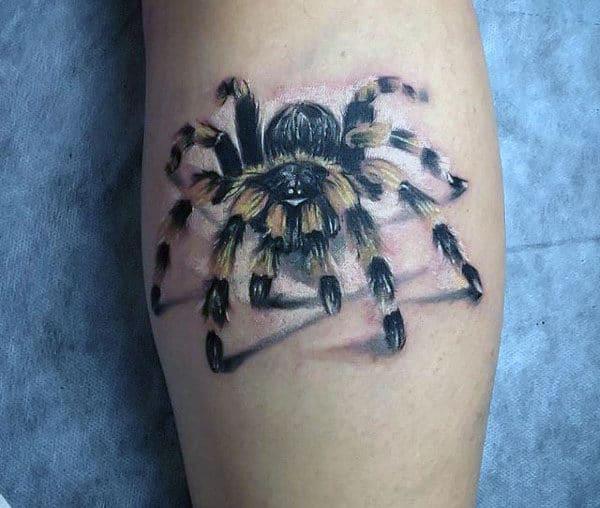 Amazing Tarantula Spider Tattoos For Guys On Leg Calf