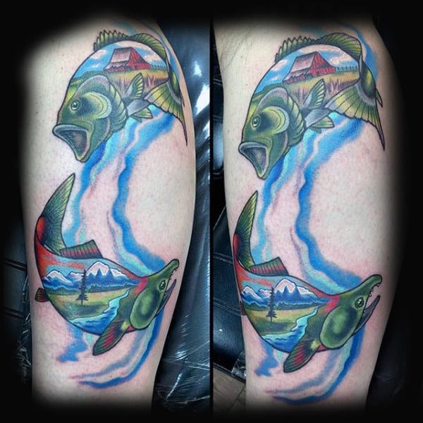 Amazing Tattoo Of Jumping Bass Fish With Farm Mountains And Trees For Men