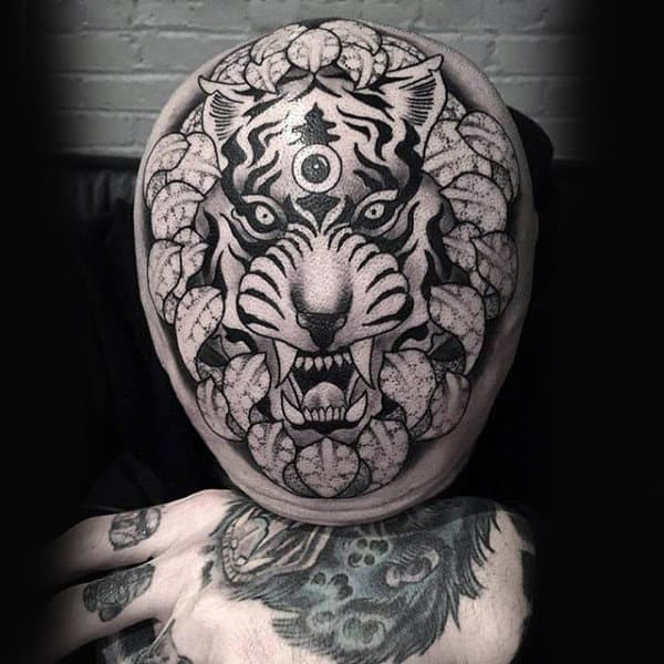 Amazing Tiger Mens Head Tattoos