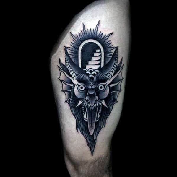 Amazing Traditional Devil Staircase Mens Thigh Tattoo