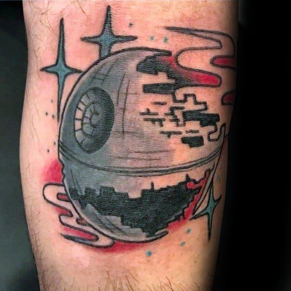 Amazing Traditional Old School Arm Mens Death Star Tattoo Designs