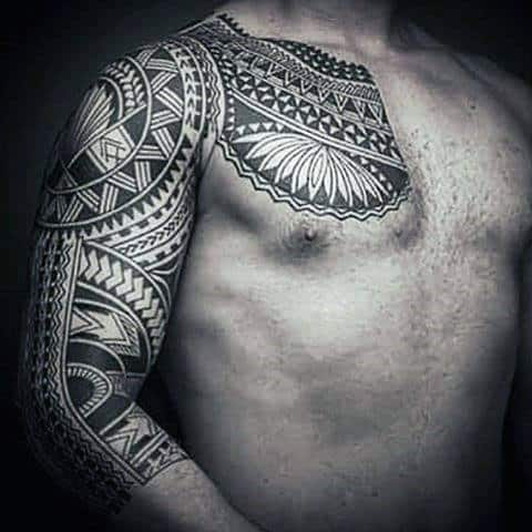 Amazing Tribal Male Polynesian Half Sleeve Tattoo Ideas