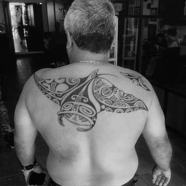 Amazing Tribal Upper Back Mens Manta Ray Tattoo Designs
