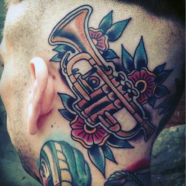 Amazing Trumpet Tattoo On Head For Men