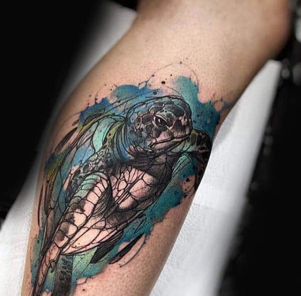 Amazing Turtle Watercolor Tattoo On Mans Leg Calf
