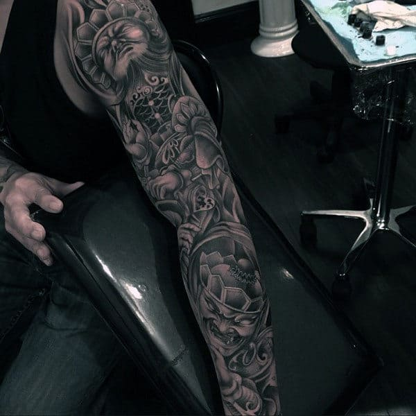 Amazing Unique Guys Shaded Full Arm Tattoo Sleeve Design