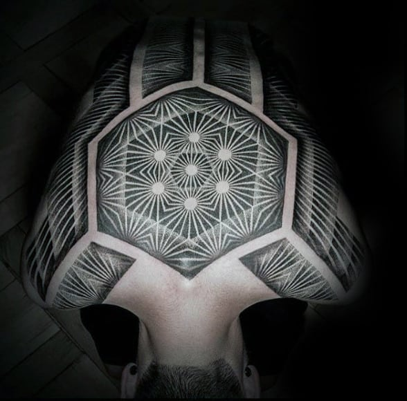 Amazing Unique Tattoos For Men On Back With Geometric Pattern