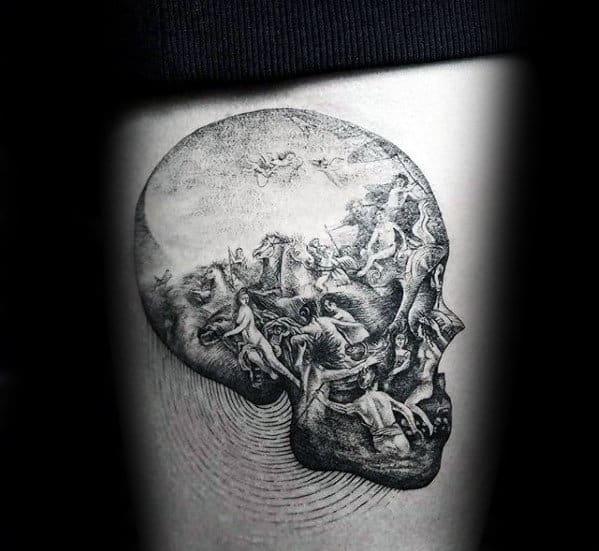 Amazing Unusual Detailed Guys Skull Arm Tattoo